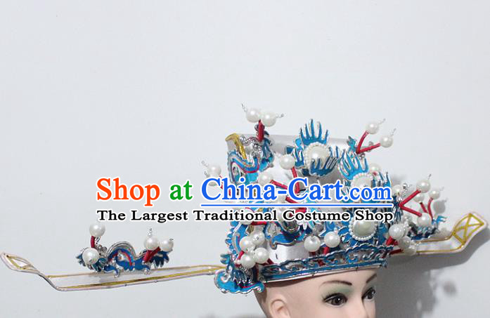 Chinese Traditional Peking Opera Prime Minister White Hat Ancient Chancellor Headwear for Men