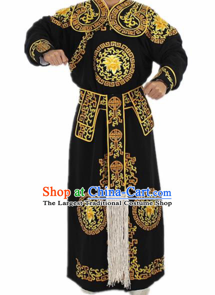 Chinese Traditional Peking Opera Takefu Black Costumes Ancient Swordsman Clothing for Men