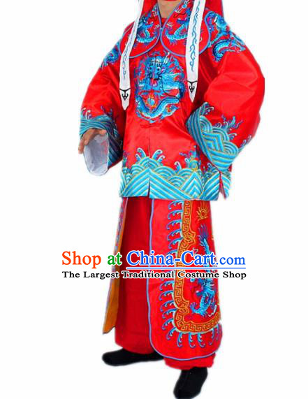 Chinese Traditional Peking Opera Takefu Red Costumes Ancient Imperial Bodyguard Swordsman Clothing for Men