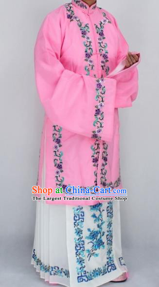 Chinese Traditional Peking Opera Nobility Lady Costumes Ancient Embroidered Pink Dress for Women