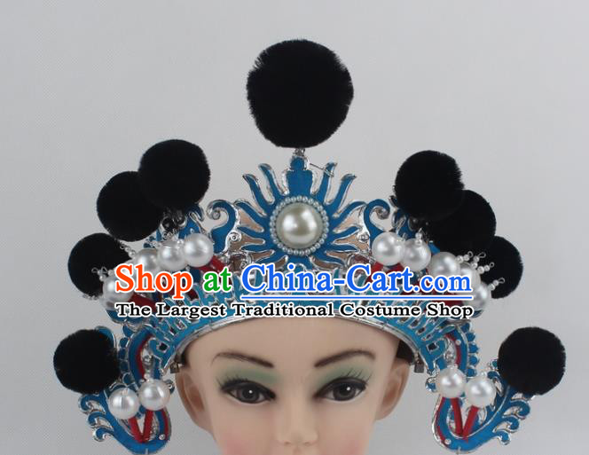Chinese Traditional Peking Opera Blues Black Venonat Helmet Ancient Magic Warriors Hat for Women