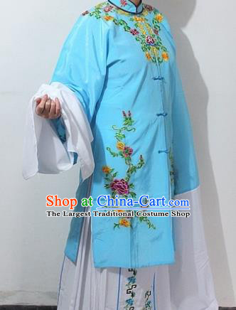 Chinese Traditional Peking Opera Actress Blue Costumes Ancient Nobility Lady Embroidered Dress for Women