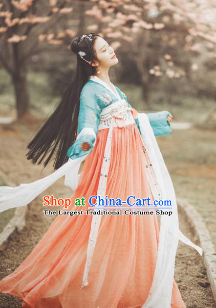 Traditional Chinese Ancient Nobility Lady Embroidered Costumes Tang Dynasty Princess Hanfu Dress for Women