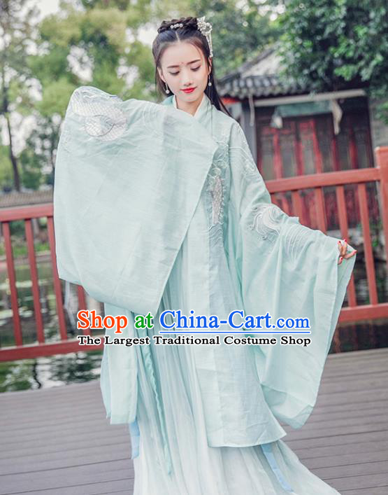 Chinese Ancient Tang Dynasty Imperial Consort Embroidered Costumes Traditional Fairy Hanfu Dress for Women