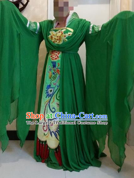Traditional Chinese Classical Dance Costumes Ancient Tang Dynasty Imperial Consort Embroidered Green Hanfu Dress for Women