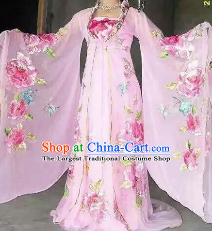 Traditional Chinese Classical Dance Embroidered Costumes Ancient Tang Dynasty Imperial Consort Pink Hanfu Dress for Women