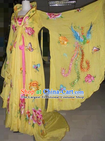 Traditional Chinese Classical Dance Embroidered Costumes Ancient Tang Dynasty Imperial Consort Yellow Hanfu Dress for Women