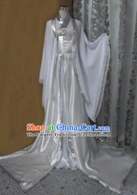 Traditional Chinese Han Dynasty Classical Dance Costumes Ancient Imperial Consort White Hanfu Dress for Women