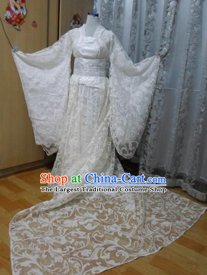 Traditional Chinese Tang Dynasty Classical Dance Costumes Ancient Imperial Consort Embroidered White Hanfu Dress for Women