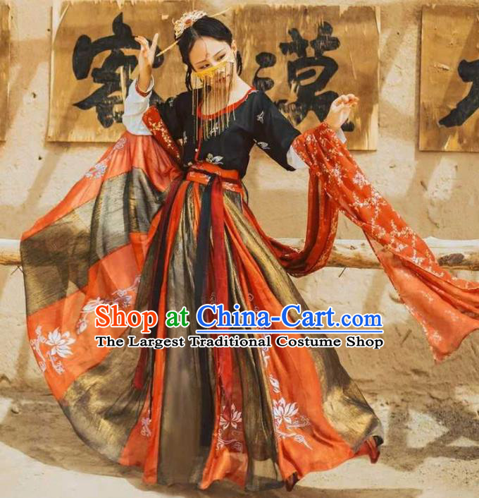 Traditional Chinese Ancient Peri Hanfu Dress Tang Dynasty Court Princess Embroidered Costumes for Women