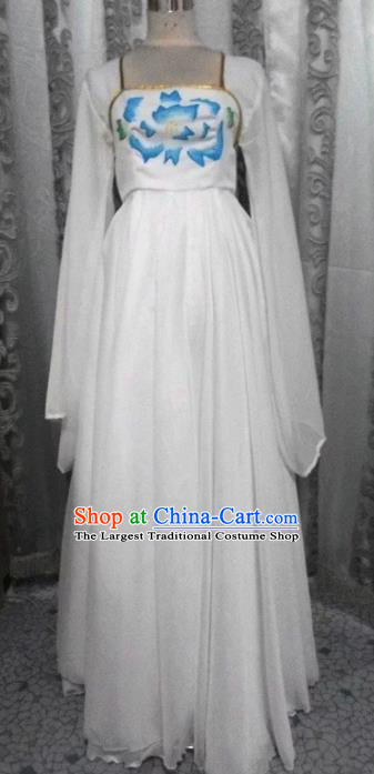 Traditional Chinese Classical Dance Embroidered Costumes Ancient Court Maid White Hanfu Dress for Women