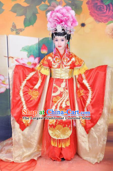 Traditional Chinese Classical Dance Embroidered Costumes Ancient Imperial Consort Wedding Red Hanfu Dress for Women