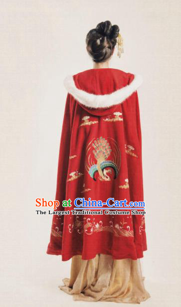 Chinese Traditional Costume Ancient Ming Dynasty Princess Embroidered Red Cloak for Women