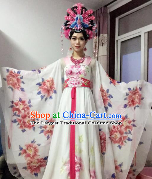 Chinese Traditional Classical Dance Costume Ancient Tang Dynasty Imperial Consort Embroidered White Dress for Women
