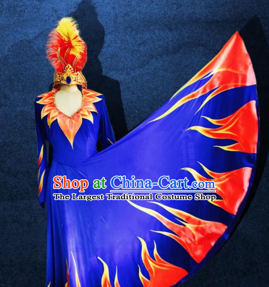Chinese Traditional Ethnic Costumes Uigurian Minority Nationality Dance Blue Dress for Women