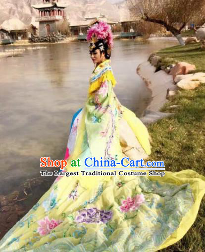 Chinese Traditional Tang Dynasty Embroidered Costume Ancient Imperial Consort Yellow Hanfu Dress for Women