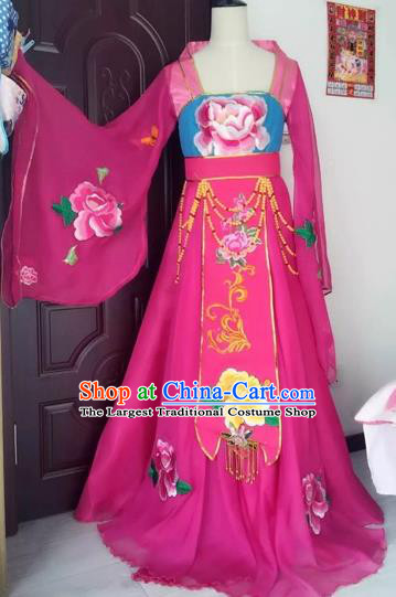 Traditional Chinese Ancient Embroidered Rosy Hanfu Dress Tang Dynasty Imperial Consort Historical Costumes for Women