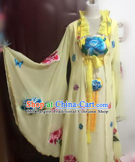 Traditional Chinese Ancient Embroidered Yellow Hanfu Dress Tang Dynasty Imperial Consort Historical Costumes for Women