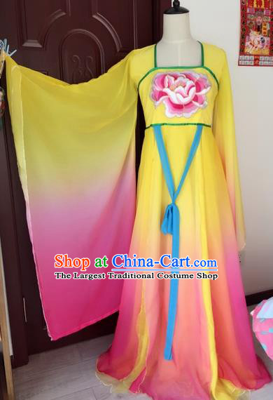 Traditional Chinese Ancient Fairy Embroidered Yellow Hanfu Dress Tang Dynasty Imperial Consort Historical Costumes for Women