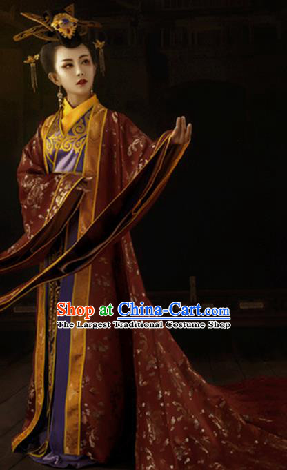 Traditional Chinese Ancient Imperial Empress Queen Costumes and Headpiece for Women