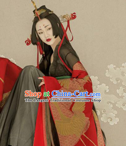 Traditional Chinese Ancient Qin Dynasty Queen Costumes and Headpiece for Women