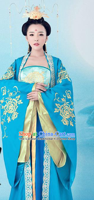 Traditional Chinese Ancient Tang Dynasty Queen Costumes and Headpiece Complete Set for Women