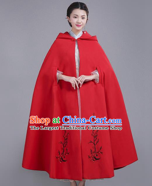 Chinese Traditional Costumes Ancient Hanfu Embroidered Red Woolen Cloak for Women