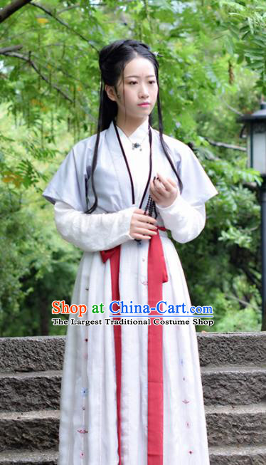 Chinese Song Dynasty Embroidered Costumes Ancient Swordswoman Hanfu Dress for Women