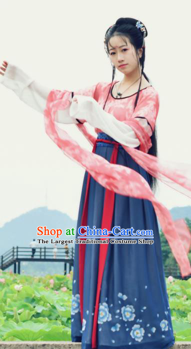 Chinese Tang Dynasty Costumes Ancient Court Maid Hanfu Dress for Women