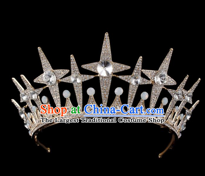 Top Grade Baroque Queen Crystal Golden Royal Crown Bride Retro Wedding Hair Accessories for Women