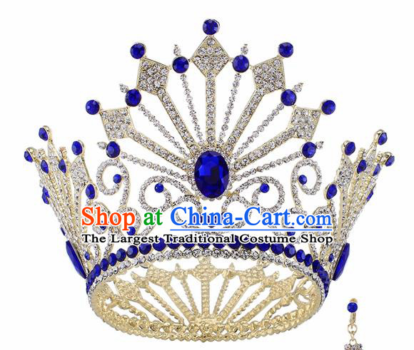 Top Grade Baroque Queen Blue Crystal Golden Royal Crown Bride Retro Wedding Hair Accessories for Women