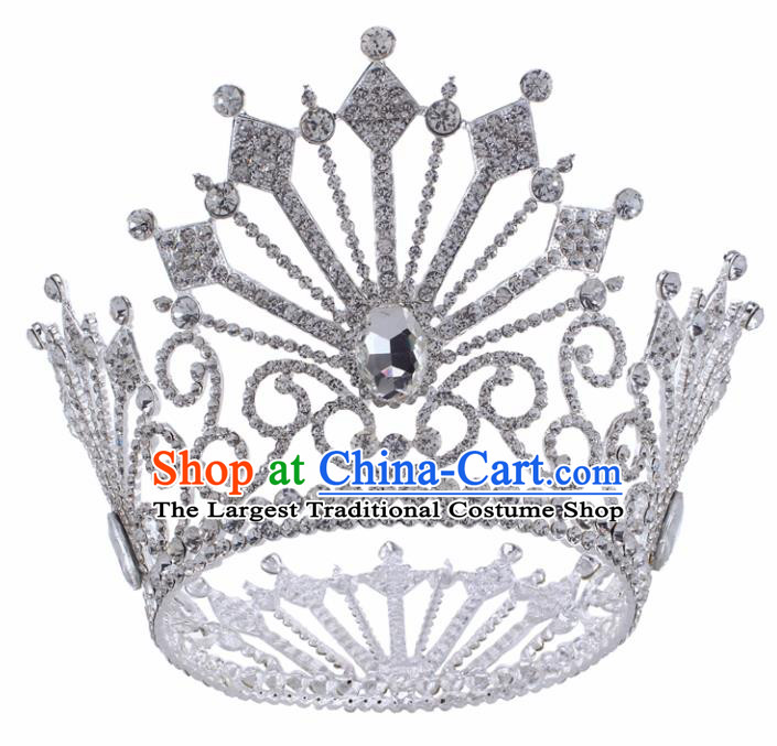Top Grade Baroque Queen Crystal Argent Royal Crown Bride Retro Wedding Hair Accessories for Women