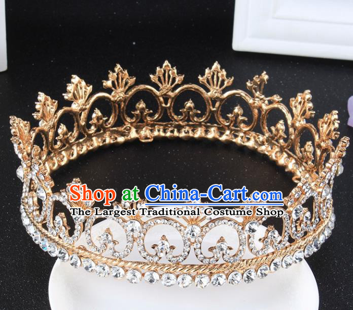Top Grade Retro Crystal Round Golden Royal Crown Baroque Queen Wedding Bride Hair Accessories for Women