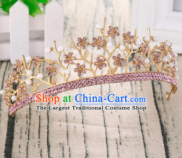Top Grade Retro Pink Crystal Flowers Royal Crown Baroque Queen Wedding Bride Hair Accessories for Women