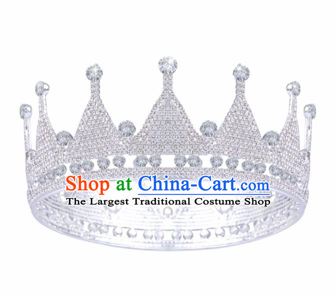 Handmade Top Grade Princess Crystal Round Royal Crown Baroque Bride Retro Wedding Hair Accessories for Women