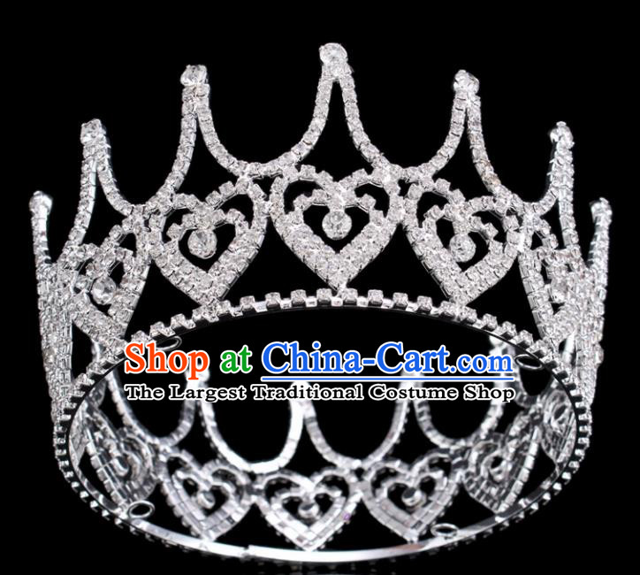 Top Grade Queen Heart-shaped Royal Crown Retro Baroque Wedding Bride Crystal Hair Accessories for Women