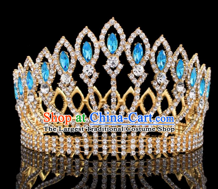 Top Grade Baroque Court Queen Blue Crystal Royal Crown Wedding Bride Hair Accessories for Women