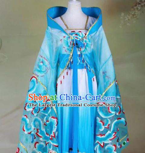 Chinese Tang Dynasty Imperial Consort Embroidered Costumes Ancient Princess Blue Hanfu Dress for Women