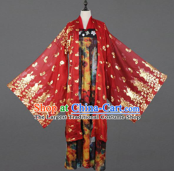 Chinese Tang Dynasty Nobility Lady Costumes Ancient Princess Embroidered Hanfu Dress for Women