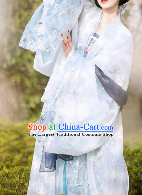 Chinese Tang Dynasty Imperial Consort Costumes Ancient Peri Princess Embroidered Hanfu Dress for Women