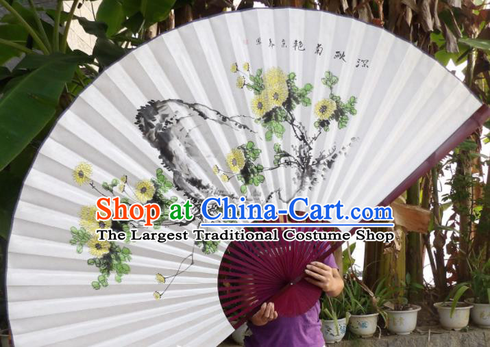 Chinese Traditional Paper Fans Decoration Crafts Painting Chrysanthemum Red Frame Folding Fans