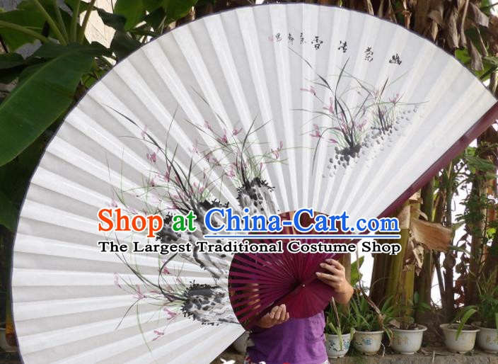 Chinese Traditional Paper Fans Decoration Crafts Hand Ink Painting Orchids Red Frame Folding Fans