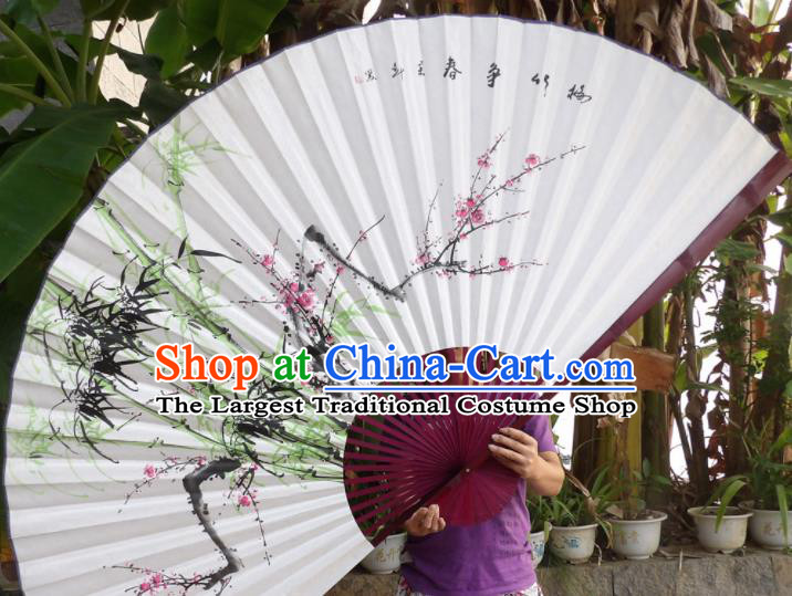 Chinese Traditional Paper Fans Decoration Crafts Hand Ink Painting Plum Blossom Bamboo Red Frame Folding Fans