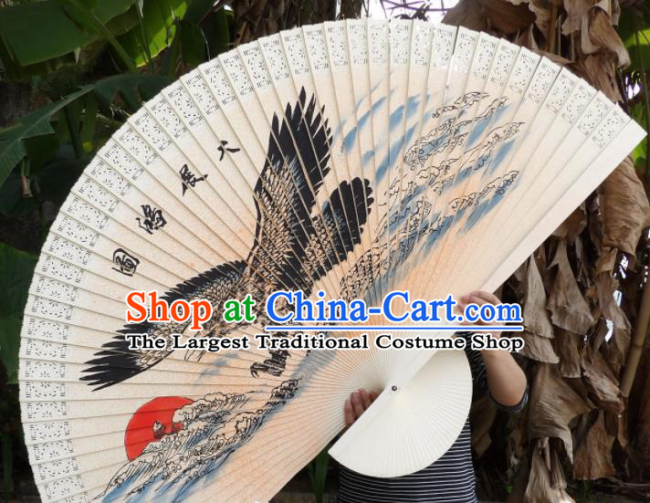 Chinese Traditional Wood Fans Decoration Crafts Handmade Printing Eagle Folding Fans