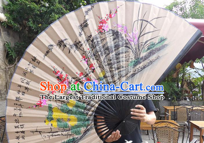 Chinese Traditional Crafts Black Frame Folding Fans Ink Painting Plum Blossom Orchid Bamboo and Chrysanthemum Paper Fans