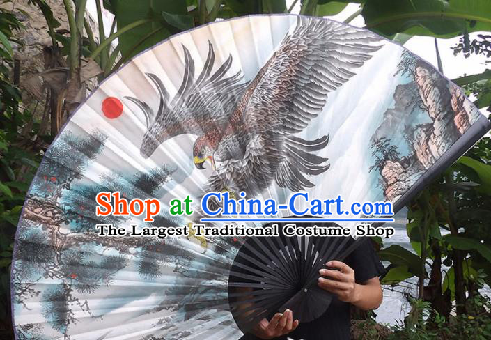 Chinese Traditional Crafts Black Frame Folding Fans Ink Painting Eagle Paper Fans