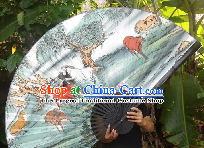 Chinese Traditional Crafts Black Frame Folding Fans Ink Painting Horses Paper Fans
