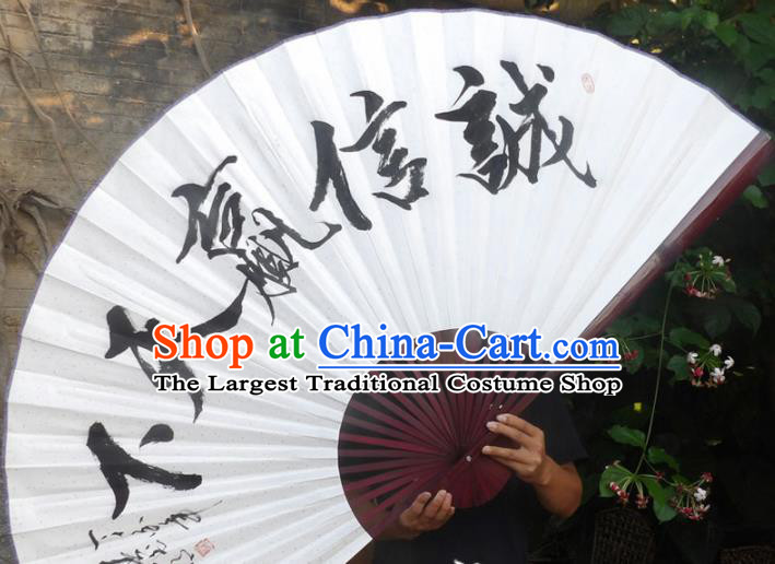 Chinese Traditional Decoration Crafts Red Frame Folding Fans Ink Painting Paper Fans