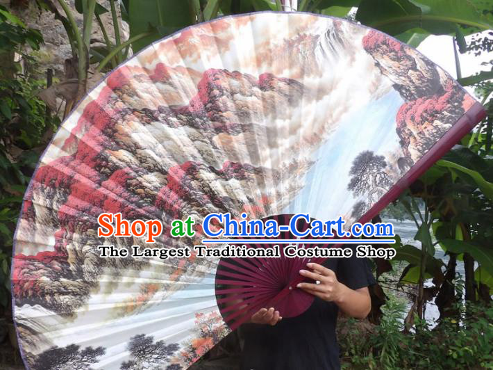 Chinese Traditional Fans Decoration Crafts Red Frame Ink Painting Mountain View Folding Fans Paper Fans