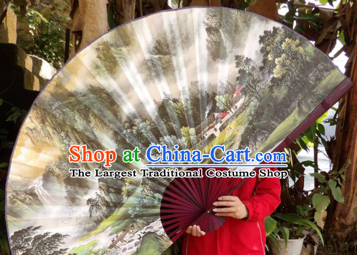 Chinese Traditional Fans Decoration Crafts Hand Painting Landscape Red Frame Folding Fans Paper Fans